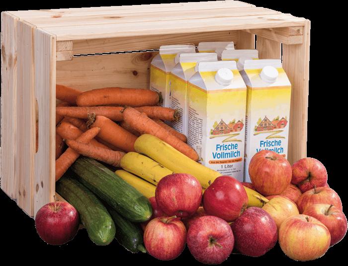 Beispielmenge von Obst, Gemüse und Milch bei 25 SchülerInnen für eine Woche (= 7,5 kg Obst/Gemüse und 5–6,25l Milch)